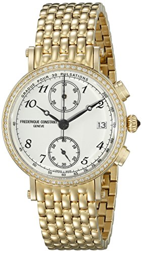 Frederique-Constant-Womens-Classics-White-Dial-Yellow-Goldtone-Stainless-Steel-Swiss-Watch-FC-291A2RD5B