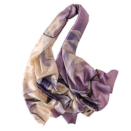 100% Silk Scarf - Women's Fashion Large Sunscreen Shawls Wraps - Lightweight Floral Pattern Satin for Headscarf&Neck (Flower-purple) ()
