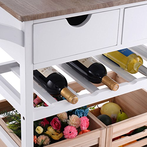 Costzon Kitchen Trolley Island Cart Dining Storage with Drawers Basket Wine Rack by Costzon (Image #5)'