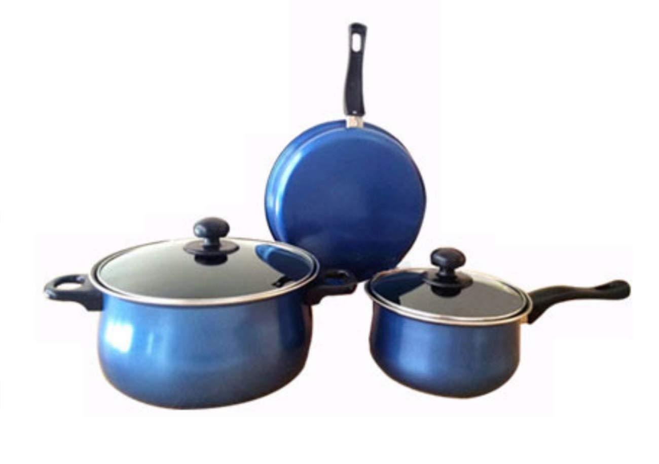 Antihaftpfanne Dreiteilige Hausküche Rot-Lila Blau,Blau