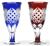 Japanese Paired Beer Glass of Edo-Kiriko (Cut Glass) Hakkaku-kagome (Octagon)