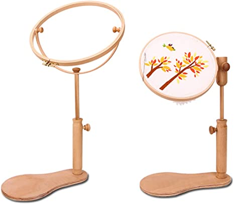 Height Adjustable Wood Embroidery Stand Hoop Cross Stitch Ring Frame