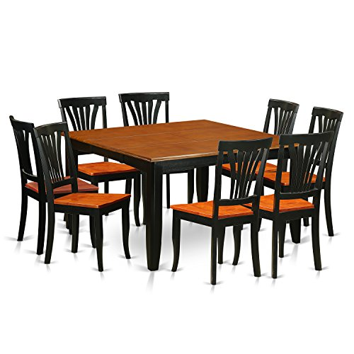 East West Furniture PFAV9-BCH-W 9 Piece Dining Table and 8 Wooden Chairs Set