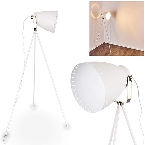 Lámpara de pie Tanhua blanco - Lámpara de pie antigua - Proyector para dormitorio, salón, comedor - con pantalla grande giratoria - Interruptor de pie ...