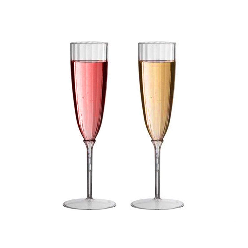 Plexware Champagne Plastic Flutes - Disposable Sparkling Wine Flute Bulk - Pack of 40 Heavy-Duty Plastic Champagne Glasses - Clear One-Piece Construction - Elegant Classic Silhouette