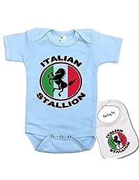 Italian Stallion Custom Printed boutique Baby bodysuit onesie & Matching bib