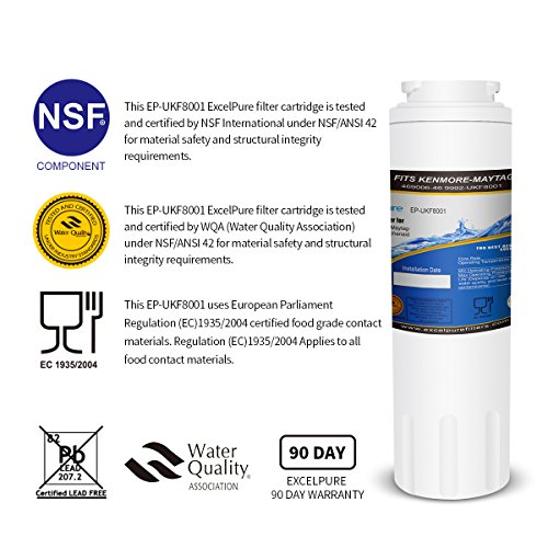 Excelpure Refrigerator Water Filter Replacement Cartridge for Maytag UKF8001, UKF-8001P, Kenmore 469006, 469992, Amana UKF8001AXX (2 PACK) by EXCELPURE (Image #1)