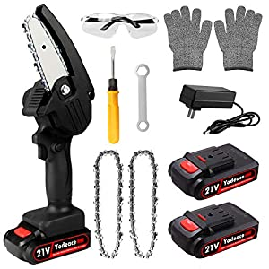 Yodeace Mini Chainsaw, 4 Inch Portable 21V Handheld Cordless Electric Chainsaw, with 2 Batteries 2 Chains Goggles Gloves…