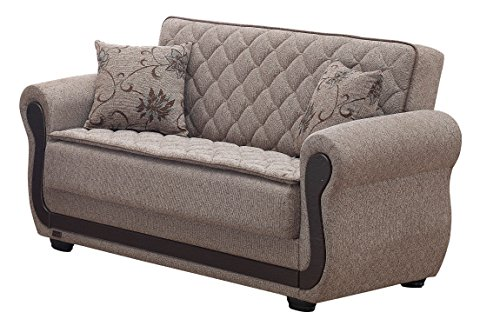 BEYAN Newark Collection Upholstered Convertible Storage L...