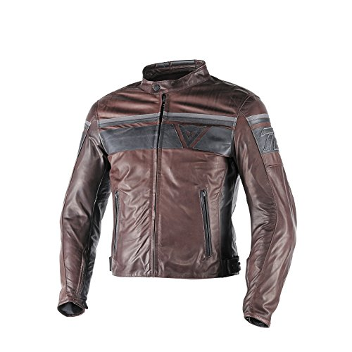 Dainese BlackJack Mens Leather Jacket Dark Brown/Black 54 Euro/44 USA ()