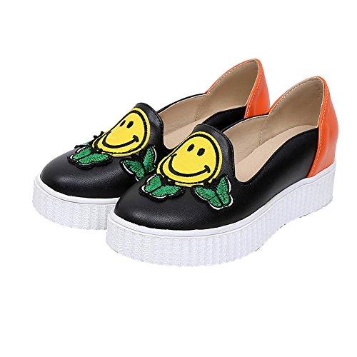 AllhqFashion Damen Rund Zehe Mittler Absatz Blend-Materialien Gemischte Farbe Pumps Schuhe Orange