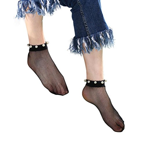 (Amiley fishnet stockings ,Socks Women Sexy Lace Pearl Fishnet Net Plain Top-Ankle Short Socks Stylish)
