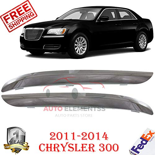 Front Bumper Molding Chrome FOR 2011-2014 Chrysler 300 Base/C Lujo/C Luxury/S Sedan/Touring Sedan 4-Door Left Hand Side & Right Hand Side Direct Replacement Plastic Set of 2 CH1046103 CH1047103 ()