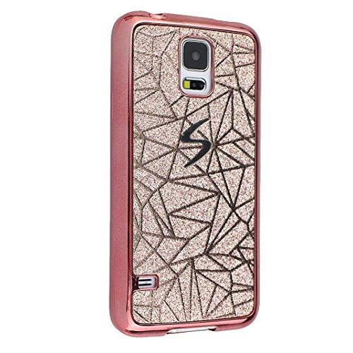 Galaxy S5 Fundas 5.1 pulgadas, Galaxy S5 Carcasa Silicona, Galaxy S5 Neo Bling Cristal Back Case Cover, Moon mood® TPU Silicona Trasero Caso Cubierta Galaxy S5 SV I9600 S5 Neo Resistente a las Rayadur Oro rosa-1
