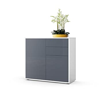 Vladon Kommode Sideboard Ben Korpus In Weiss Matt Fronten In Grau