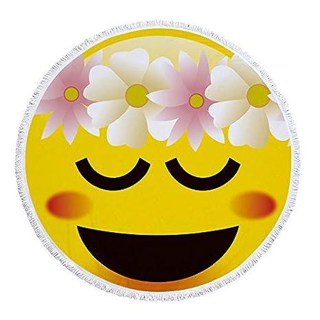 GSYAZTT Cute Expression Microfiber Round 150 Cm Beach Lace Brush Geometric Print Summer Women Sandy Swimming