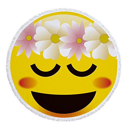 Amazon.com : GSYAZTT Cute Expression Microfiber Round 150 Cm Beach Lace Brush Geometric Print Summer Women Sandy Swimming Plage Sun Bath Toalla Playa As Pic ...
