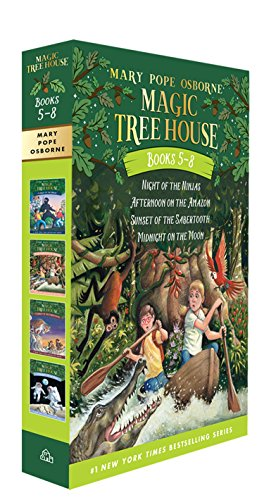 5 Paperback Books - Magic Tree House Boxed Set, Books 5-8: Night of the Ninjas, Afternoon on the Amazon, Sunset of the Sabertooth, and Midnight on the Moon