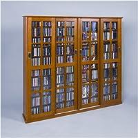 Leslie Dame MS-1400 Mission Style Multimedia Storage Cabinet with Sliding Glass Doors, Oak
