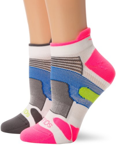 Saucony XP Light Cushioned Socks (Pack of 2) White/Pink