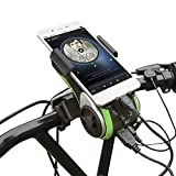 UPPEL All(10)-in-1 Bike Bluetooth Speaker Bluetooth V4.0 + Speaker+4400mAh Power Bank+Bike Light+Bicycle Bell+Phone Bracket+Hands Free Calling Support TF Card for Play Music (Green)