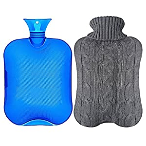 Hot Water Bottle Warmer Set ,2 Liter with Soft Knit Water Bottle Cover for Pain Relief Hot Cold Therapy and Comfort Hot Water Bottle Bag,Blue