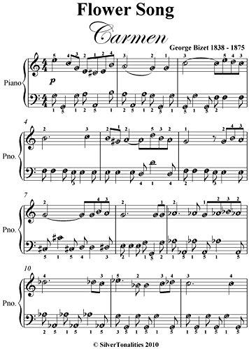 Flower Song Carmen Bizet Easy Piano Sheet Music ()