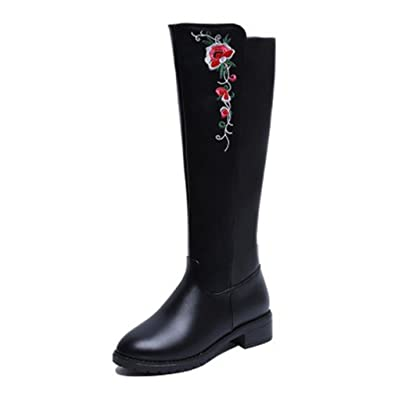 4bae0fee99be Btrada Womens Over The Knee Thigh High Boots Wide Calf Chunky Block Size  Zipper Low Heel