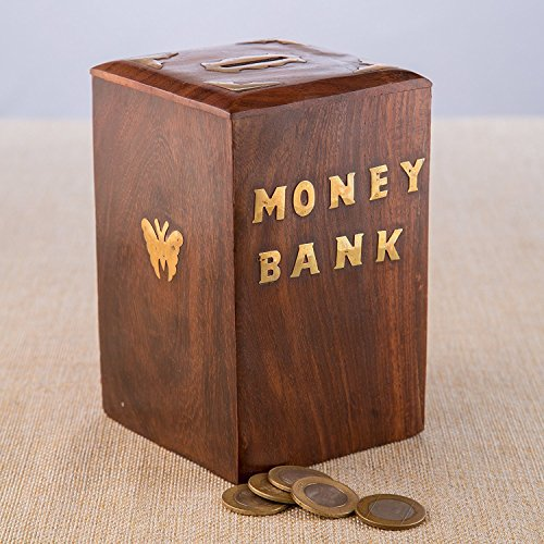 Wooden Handmade Coins Storage Box  Wooden Piggy Bank  Square Money Bank With Butterfly Inlay On Two Sides And Lock To Store Your Money   4 Inch