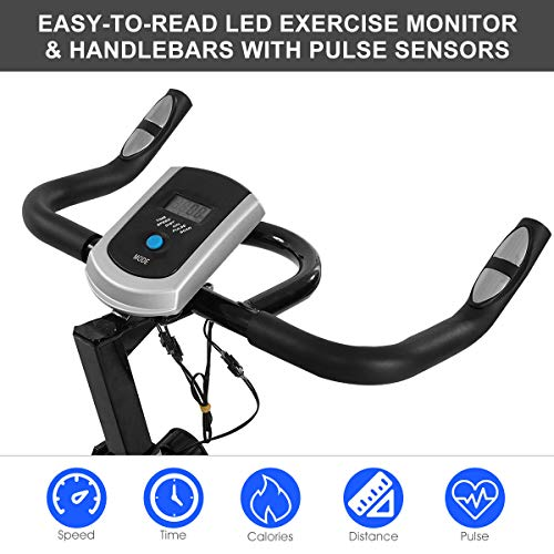 Goplus Bike Stationary with Flywheel, Heart Rate 4-Position Adjustable Saddle, Display, Exercise for Home Gym Use