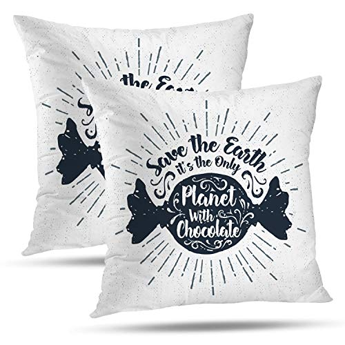 Batmerry Halloween Thanksgiving Decorative Pillow Covers 18x18 inch Set of 2,Hand Halloween Candy Inspirational Quote Chocolate Treat Inspiration Throw Pillows Covers Sofa Cushion Cover Pillowcase -