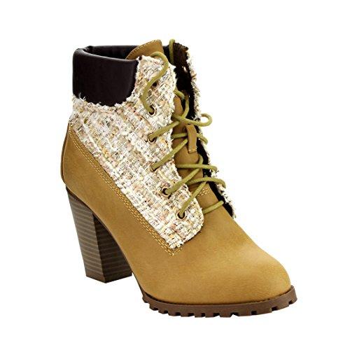 Bella Marie Ib89 Donna Allacciatura Impreziosita Caviglia Imbottita Polsino Caviglia Stivaletti Caviglia Cammello
