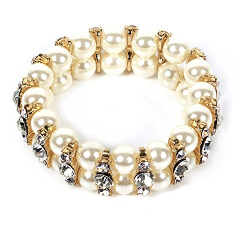 VK Accessories Pear Double Rows Bracelet Stretch Crystal Bangle White Pearl Gorgeous Gold Plated Boho (Pearl Double Row Bracelet)