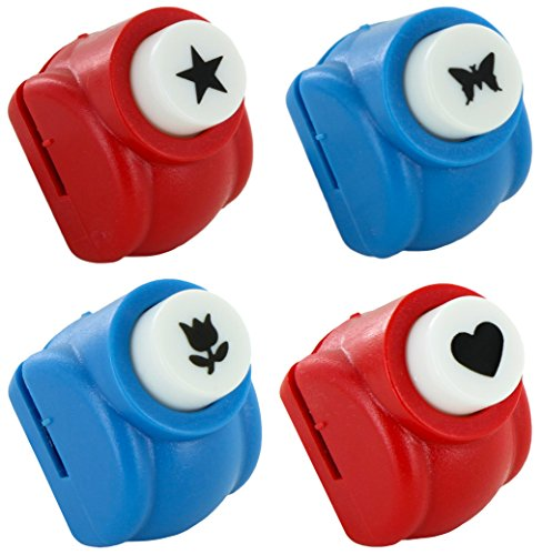 Paper Punch Shapes: Flower Heart Butterfly Star - Set of 4 Punches Scrapbooking Craft Supplies ()