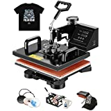 "SUNCOO 5 in 1 Heat Press Machine Swing Away,Professional Digital Transfer Sublimation Heat Pressing Machine for T-Shirt/Mug/Hat Plate/Cap,12""x15"" Combo Kit"