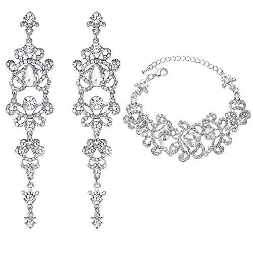 mecresh Silver Teardrop Rhinestone Chandelier Earring and Tennis Bracelet Wedding Jewelry Set for Women Brides Bridesmaid (Wedding Platinum Set Jewelry)