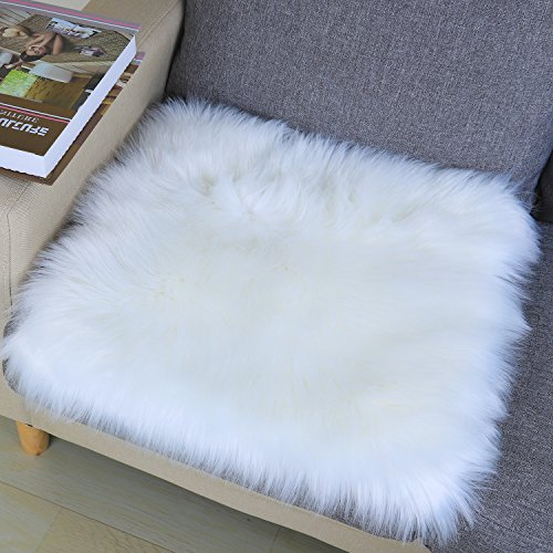 Noahas Faux Fur Sheepskin Silky Seat Cushion, Home Decor Long Wool Area Rugs Carpet, Soft Fluffy Plush Chair Seat Pads Universal Fit for Home Office Restaurant Chair, 1.6x1.6 feet, White-Square