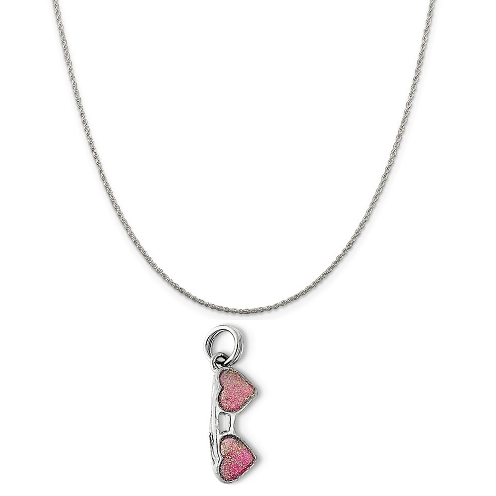 16-20 Mireval Sterling Silver Pink Sunglasses Charm on a Sterling Silver Chain Necklace