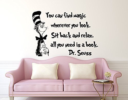 Quote Wall Decal Dr Seuss Vinyl Sticker Decals Quotes You Can Find Magic Wherever You Look Decal Quote Sayings Decor Nursery Baby Room x245