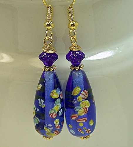 Vintage 1970s Japanese Millefiori Blue Teardrop Bead Earrings, Vintage West German Blue Pressed Glass beads, Gold filled ear wires