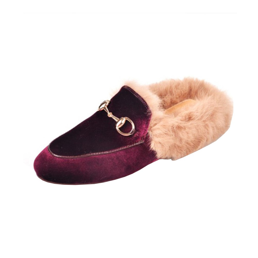 465c3bf42a952 GEEDIAR Leather Mules Women Shoes Fur Mules and Slides Backless ...