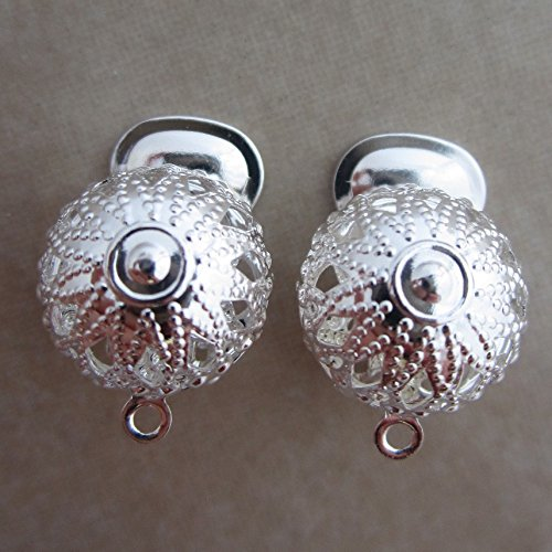 10 Silver Plated Filigree - 10 Silver Plated Filigree Clip on Earclips