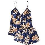 Moxiu New Women Summer Sexy Sleepwear Sleeveless Printed Nightwear Satin Lingerie Set Underwear Two Piece (L, Blue)