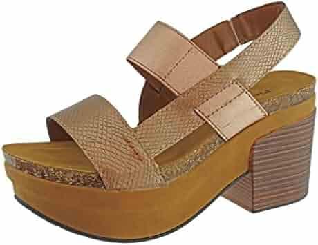 bf049272feca Pierre Dumas Women s Luann-1 Vegan Leather Chunky Heel Platform Sandal  Snake Print Accents