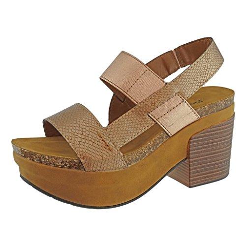 Pierre Dumas Women's Luann-1 Vegan Leather Chunky Heel Platform Sandal Snake Print (Chunky Leather Platforms)