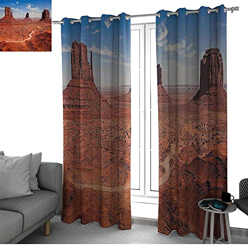Western Decor Collection Creative Blackout Window Drapes for Teenagers Bedroom American Desert Arizona Canyon Monument Valley and National Park Picture soundproof curtain Peru Blue W108 x L84 Inch