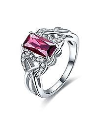 Jrose Elegant Style Created Spessartine Garnet 925 Sterling Silver Women Anniversary Ring