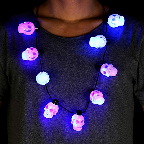 Fun Central BC996, 1 Pc Blue LED Skull Necklace, Light Up Halloween Necklace, Glow in The Dark Necklace, Spooky LED Necklace, Flashing Party Necklace