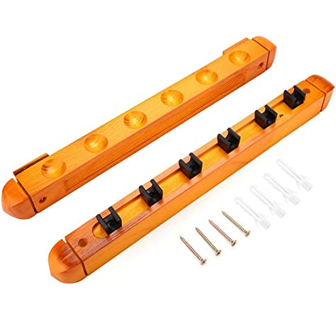 Rack de pared de madera para tacos de billar, Rack de tacos de billar de madera para montaje en pared de poste con clips Organizadores de palos para accesorios de tacos de