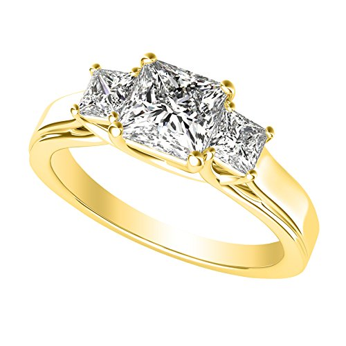 (1/2 0.5 Carat 3 Three Stone Princess Diamond Engagement Ring 14K Yellow Gold I-J Color I1-I2 Clarity )